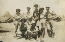P/O Jones and crew in Algiers, North Africa after the Freidrichshafen shuttle raid, June 1943. Back (from left) Oscar Brierley (RG), Jimmy Silk (Nav), Tommy Hodkinson (BA), Jack Hannah (W/Op), Doug Jones (Pilot); Front (from left) Freddie Strange (MUG), Maurice Hemming (F/Eng).